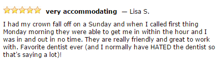 Dentistry for the Entire Family Patient Lisa S Testimonial
