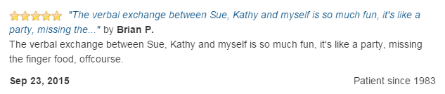 The verbal exchange between Sue, Kathy and myself is so much fun, it is like a party!