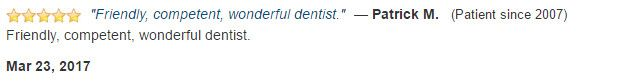 Friendly, competent, wonderful dentist.