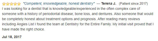 I was looking for a dentist that knowledgeable and experienced in gum disease and dentures. My initial visit proved that I made the right choice.