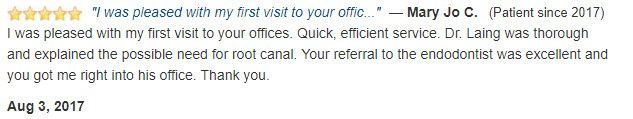 I was pleased with my first visit to your offices. Quick, efficient service.
