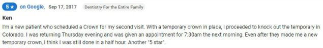 New patient rated Dentistry for the Entire Family five stars!
