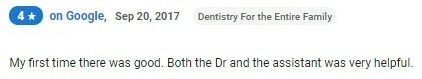 My first time there was good. Both the Dr and the assistant were very helpful.