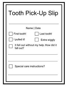 Tooth Fairy Slip