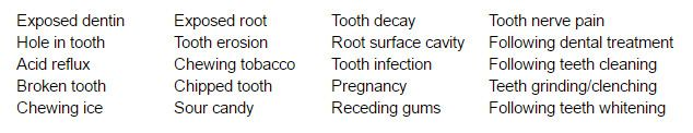 List of reasons why teeth may be sensitive