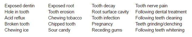 List of reasons why teeth may be sensitive
